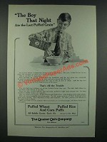 1919 Quaker Oats Puffed Wheat, Rice and Corn Puffs Ad - The Boy That Night