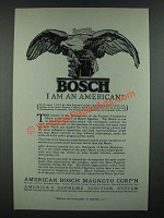 1919 Bosch Ignition Ad - I am an American