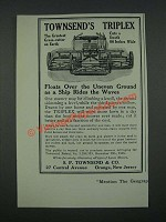 1919 Townsend's Triplex Lawn Mower Ad - Floats Over Uneven Ground