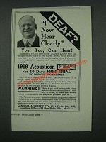 1919 Acousticon Hearing Aid Ad - Deaf? I Now Hear Clearly