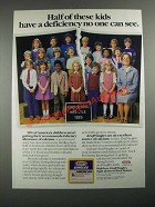 1987 Kraft Singles Ad - Half of These Kids Have a Deficiency