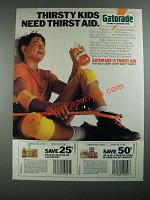 1987 Gatorade Drink Ad - Thirsty Kids Need Thirst Aid