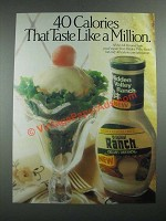1987 Hidden Valley Ranch Dressing Ad - 40 Calories That Taste Like a Million