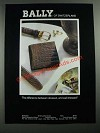 1987 Bally of Switzerland Billfold and Belt Ad