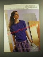 1987 JCPenney Worthington Cotton Sateen Skirt and Popcorn Stitch Sweater Ad