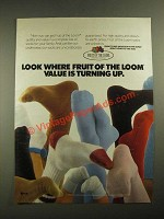 1987 Fruit of the Loom Socks Ad - Value is Turning Up
