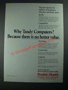 1987 Radio Shack Tandy Computers Ad - Because There is No Better Value
