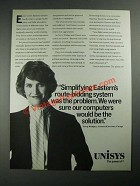 1987 Unisys Computer Systems Ad - Simplifying Eastern's Route-Bidding System