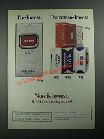 1987 Now Cigarettes Ad - The Lowest. The Not-So-Lowest