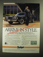 1987 Budget Rent a Car Ad - Arrive in Style