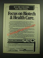1987 Fidelity Select Portfolios Ad - Focus on Biotech & Health Care