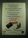 1987 Discover Card and Marshalls Store Ad - First Day of Christmas