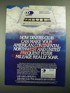 1987 Diners Club International Ad - Frequent Flyer Mileage Really Soar