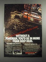 1987 Honda Foreman 4x4 ATV Ad - You'd Be in More than Deep Mud