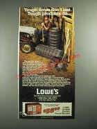 1987 Lowe's Fencing Ad - Tough Times Don't Last