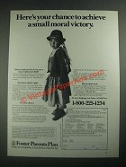 1987 Foster Parents Plan Ad - Achieve a Small Moral Victory