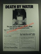 1987 Foster Parents Plan Ad - Death by Water