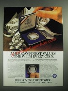 1987 United States Mint Constitution Coins Ad - Finest Values