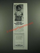 1987 Children Inc. Ad - Little Girl Shouldn't Have to Beg for Food