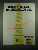 1987 3M Post-it notes Ad - In Today's Fast Lane You Need a Yellow Line