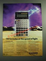 1987 Casio FX-5000F Formula Calculator Ad - 128 Formulas at Speed of Light