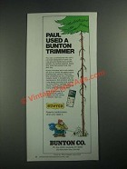 1987 Bunton Trimmer Ad - Paul Used a Bunton Trimmer
