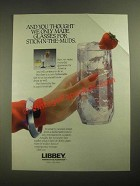 1987 Libbey Symmetry Line of Glassware Ad - Stick-in-the-muds