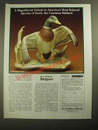 1987 The Hamilton Collection Ad - Common Mallard sculpture Carol Werner Burgues