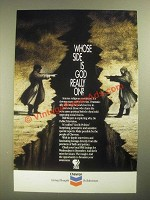 1987 Chevron PBS God & Politics Show Ad - Whose Side is God Really On?