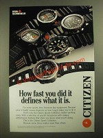 1987 Citizen Sports Collection Watches Ad - How Fast You Did It Defines