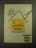 1987 3M Post-it Notes Ad - I Love You Mom