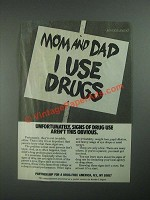 1987 Partnership for a Drug-Free America Ad - Mom and Dad I Use Drugs