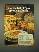 1987 Old El Paso products Ad - Layered Bean Dip recipe