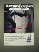 1987 Schlage Deadbolt Locks Ad - How Most Burglars Get Their Kicks