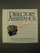 1987 North Carolina Tourism Ad - Directory Assistance