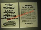 1987 Chrysler Dodge Omni and Plymouth Horizon Ad