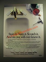 1987 Du Pont Corian Counter Ad - Stain It. Burn it. Scratch it.