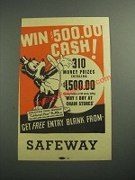 1936 Safeway Grocery Store Ad - Win $500.00 Cash!