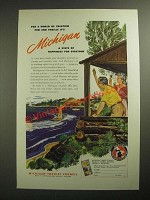1947 Michigan Tourist Council Ad - For a World of Vacation