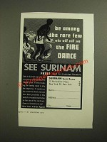 1961 Surinam Tourist Bureau Ad - See the Fire Dance
