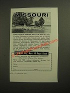 1961 Missouri Resources and Development commission Ad
