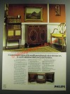1973 Philips Colour Ad - in Sheraton-Style, Chippendale and Jacobean Cabinets