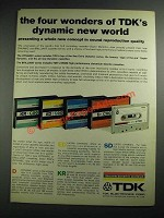 1973 TDK Cassette Tapes Ad - The Four Wonders of Dynamic New World