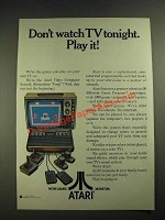 1978 Atari Video Computer System Ad - Don't Watch TV Tonight. Play it!