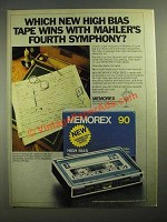 1979 Memorex High Bias Cassette Ad - Wins With Mahler's Fourth Symphony