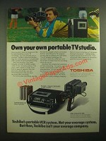 1979 Toshiba Betaformat Ad - Cassettes, V-5530 Recorder, IK-1650 Video Camera