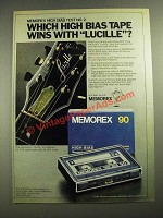 1980 Memorex High Bias Cassette Ad - Wins With Lucille