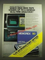 1980 Memorex High Bias Cassette Ad - Genrad Real-Time Analyzer