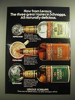 1983 Leroux Peppermint, Cinnamint and Spearmint Schnapps Ad