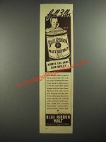 1937 Pabst Blue Ribbon Malt Ad - Full 3 Lbs